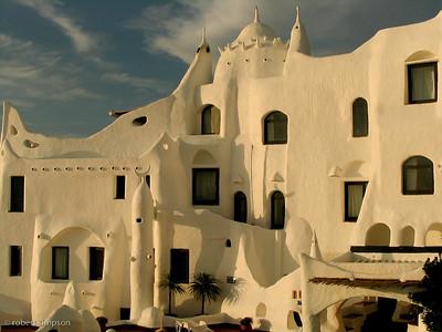 The Casapueblo Hotel captures the evening sun.