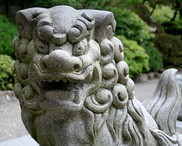 Japanese garden stone dragon sculpture.