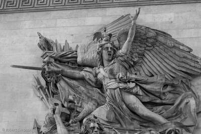 Detail of statuary elements on the Arc De Triomphe, Paris, France.