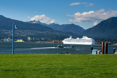Cruise ship leaving Vancouver harbor.