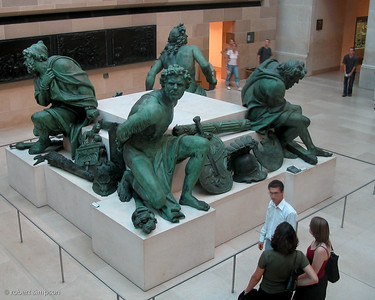 Bronze statues at the Louvre.