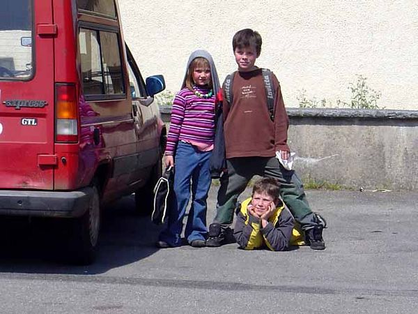 Here are the children Merial and I pick up 5 times a week to take to the school bus in the village.  There's Amandine, Alois and Augustin...