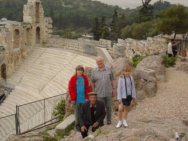 Me,Grandpa, Merial, and our guide at the Acropolis, Athens.