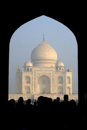 The south entrance. The Taj inspires such awe that most folks just come to a stop right at the entrance doors.