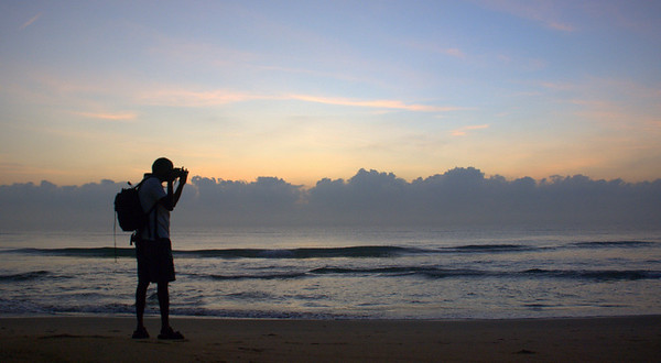 Out on the beach at 6:30 a.m., in shorts. Ah... the beautiful weather at Mahabalipuram, India