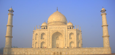 The eastern face of the Taj Mahal around sunrise.