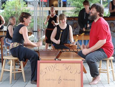 A local marimba band playing at Whistler, BC Canada. Did I mention a very happy band at that!