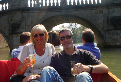 Jean and Graeme punting at Cambridge