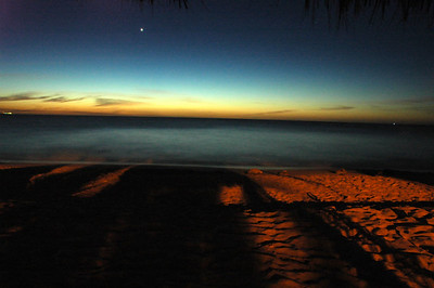 Dusk in Aruba. The bright star is Venus