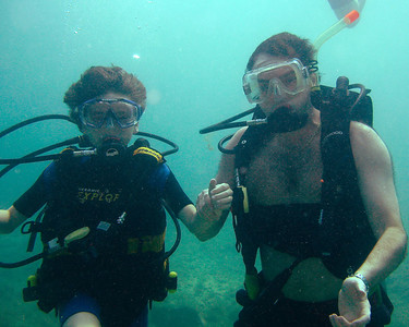 Alex and Zevy scuba diving