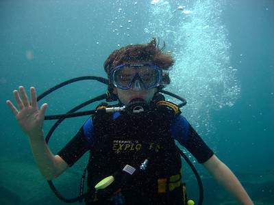 Alex Y in his first Scuba Diving adventure at the Pedernales in Aruba
