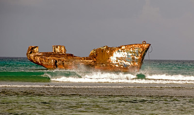 Freighter washed away by hurracaine Lenny