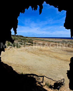 Looking out from the interior of one of Aruba's many caves.