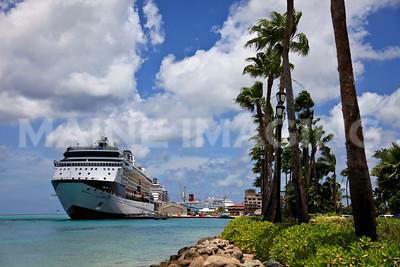 Cruise ships line the piers in Oranjestad, Aruba.