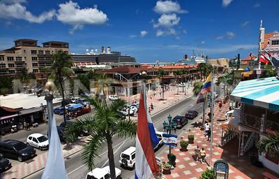 Main Street in downtown Oranjestad, Aruba.