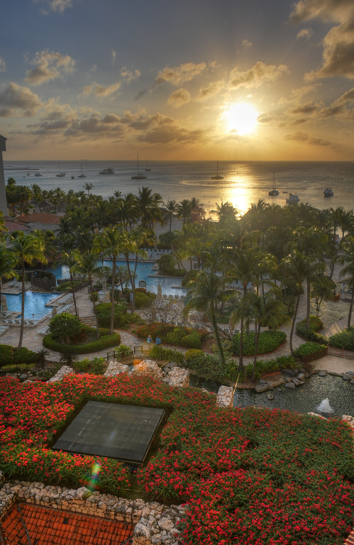 Aruba Sunset over Hyatt grounds