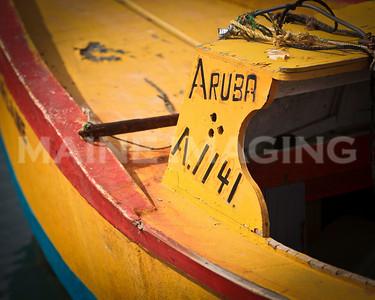 A colorful fishing boat in Aruba.