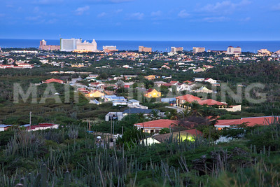 "Looking at the ""High Rise"" section of Aruba from a distant hilltop."