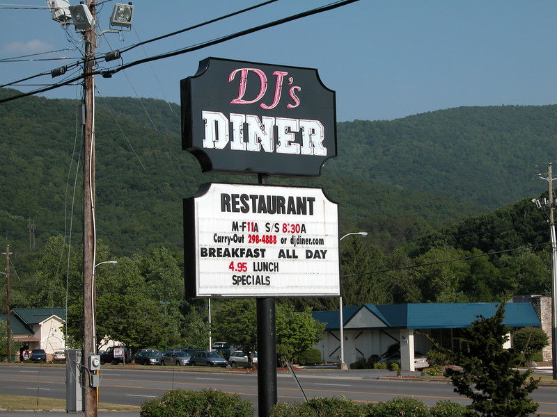 DJ's Diner - a good place to stop in Asheville for basic home cooked meals.  Breakfast is all day but doesn't start until 11???