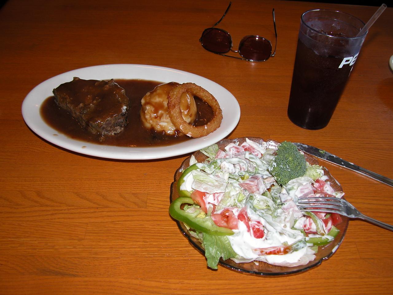 DJ's Diner.  I had the meatloaf and salad.  Quite good.