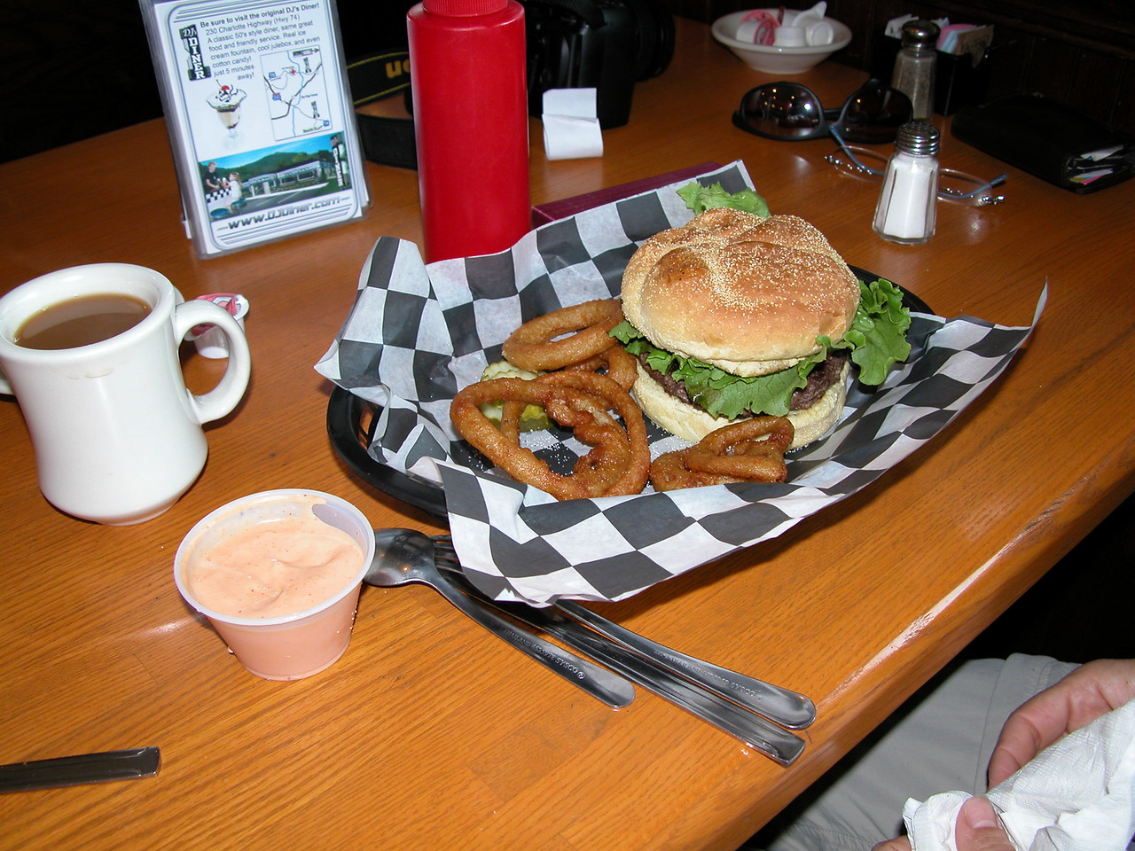 Helen's burger - also a treat after a long day with little to eat.  Beer battered onions rings and they were excellent!