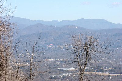 View of the Grove Park Inn from atop Mount Spivey