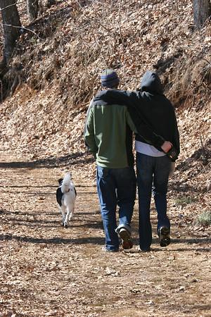 Drew, Catherine and Bessie hiking Spivey Mountain
