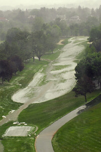 The 18th from tee to green after the hail storm