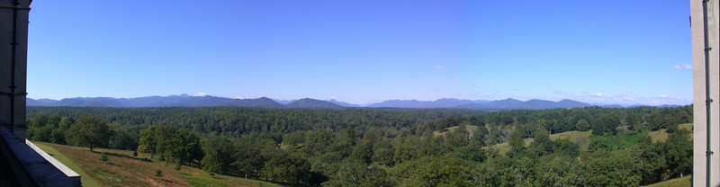 "View from the ""Loggia"" at the back of the Biltmore House in Asheville, NC.  Vanderbilt owned most of the peaks on the left side (52 mountains total) before selling off a lot of his land that became the Pisgah National Forest."