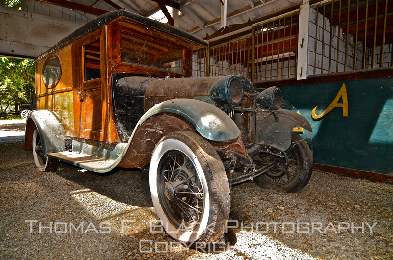 This and three frames following, 1924 Ford wood-paneled delivery van (genuine wood).