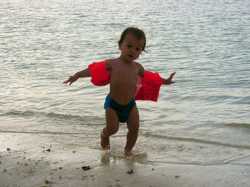 JJ enjoying the beach in Guam, Jan. 2001