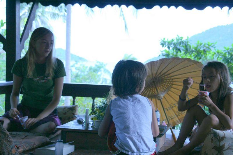 Dakota, JJ and Tina on front porch at Koh Tao