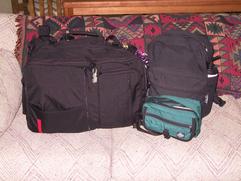 My luggage for the trip - one convertible backpack, one day bag and a waist pack for my camera that often lived in the day pack.