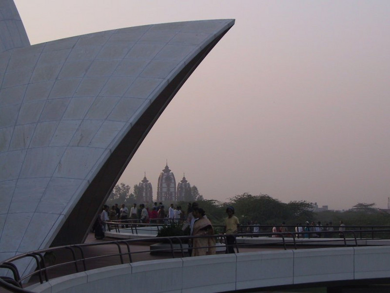 Baha'i Lotus Temple foreground, Hindu temple background