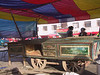 A painted wagon outside the covered section of Kashgar's market