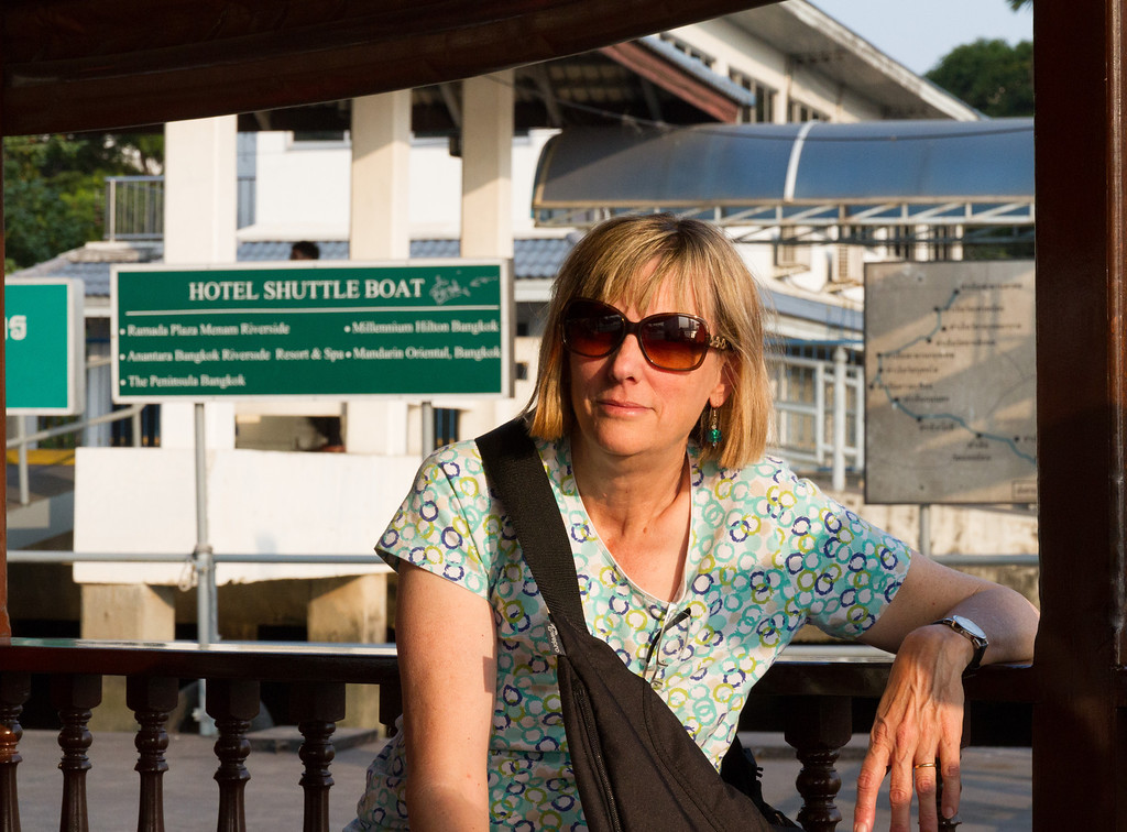 Barbara at one of the water taxi stops