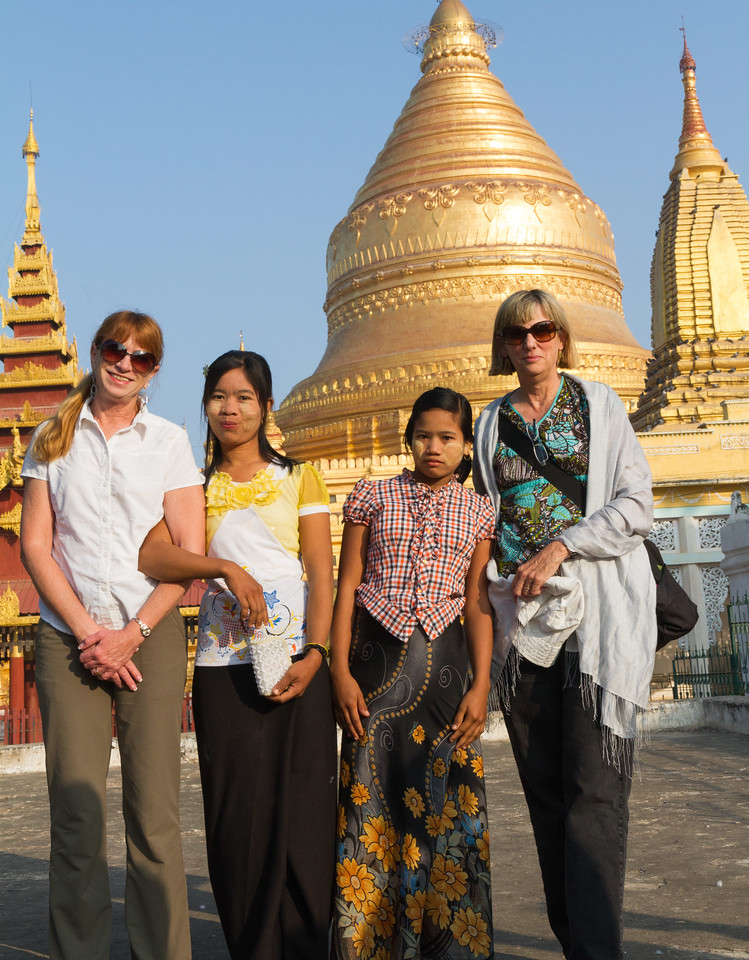 throughout the country we met Myanmar tourists visiting the major pagodas. They seemed intrigued by Westerners and frequently asked us to pose with them