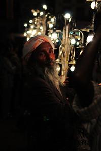 Man Holding Lighting For Holy Festival Procession,  Pushkar, India