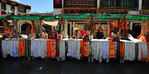 Prayer Flag Sellers, Barkhor, Lhasa, Tibet