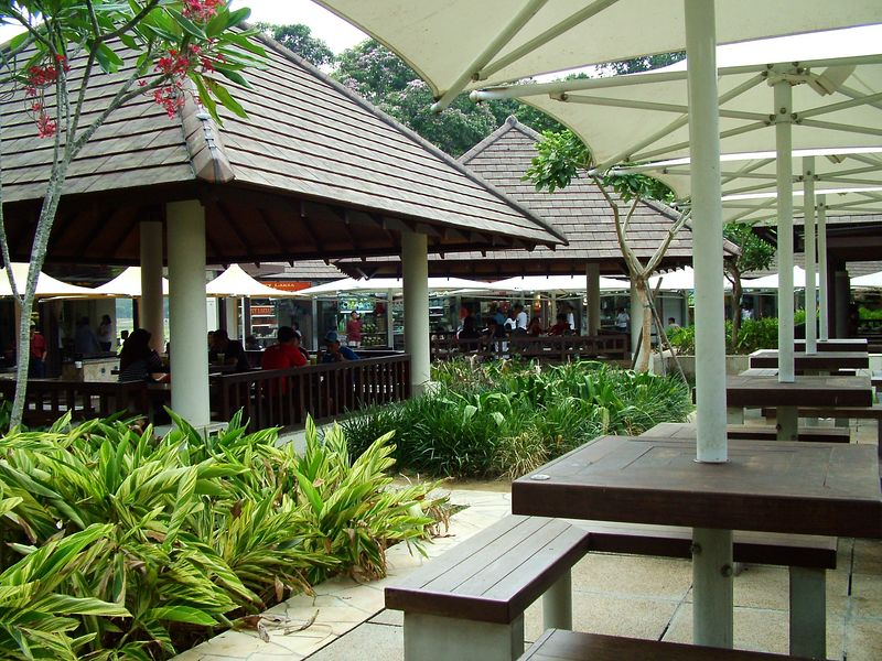 Outdoor eatery along the coastal road from the airport