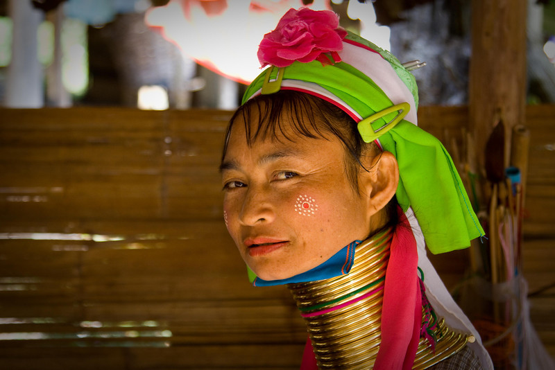 "IMG_3011-1 Visiting the hill tribe village.  This is a Padong, or ""Long Neck""."