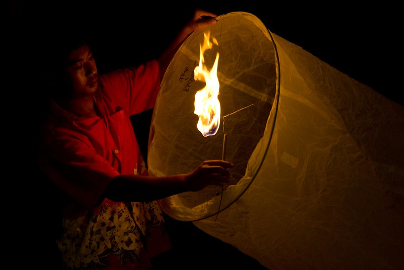 Lighting a luminary, (Krathong) for good luck