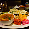 Spicy and delicious chicken tikka, curry, rice and naan from Punjabi by Nature.