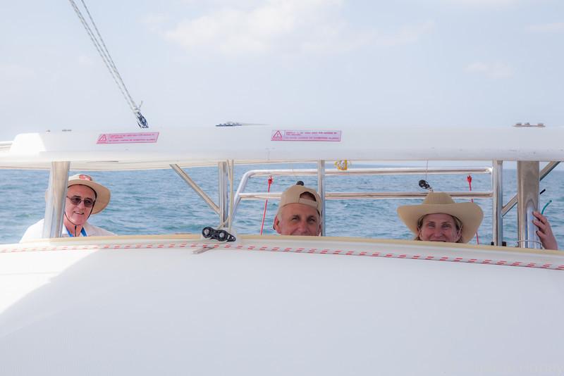 Steve Taylor, Al Larking, Leslie Will aboard Laidaeng