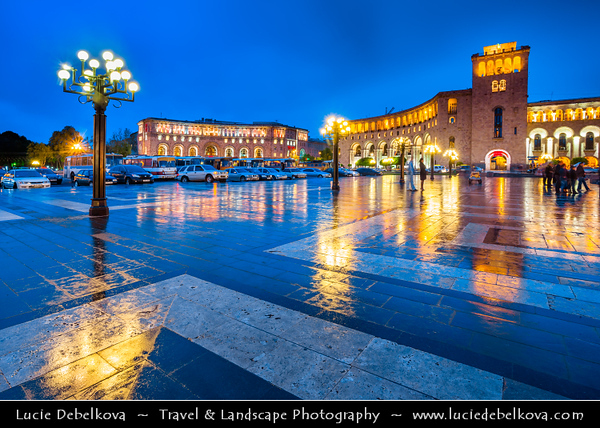Armenia - Yerevan - Երևան - Capital & largest city of Armenia - One of the world's oldest continuously-inhabited cities - Republic Square - Հանրապետության հրապարակ - Hanrapetutyan Hraparak - formerly Lenin Square - Լենինի հրապարակ - Large central town square at Dusk - Twilight - Blue Hour