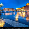 Armenia - Yerevan - Երևան - Capital & largest city of Armenia - One of the world's oldest continuously-inhabited cities - Republic Square - Հանրապետության հրապարակ - Hanrapetutyan Hraparak - formerly Lenin Square - Լենինի հրապարակ - Large central town square at Dusk - Twilight - Blue Hour