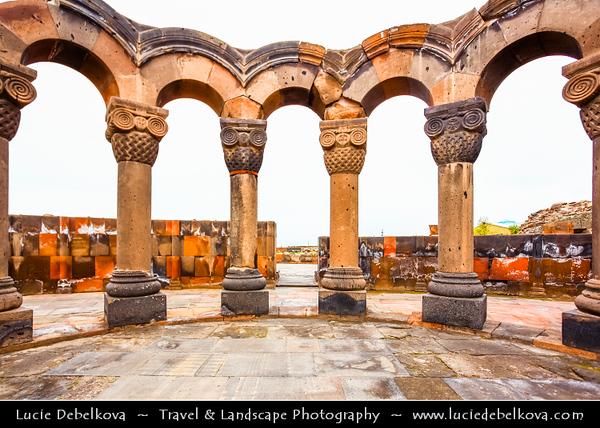 Armenia - Zvartnots Cathedral - Զուարթնոց - Celestial angels - Ruins of a seventh century centrally-planned aisled tetraconch type Armenian cathedral