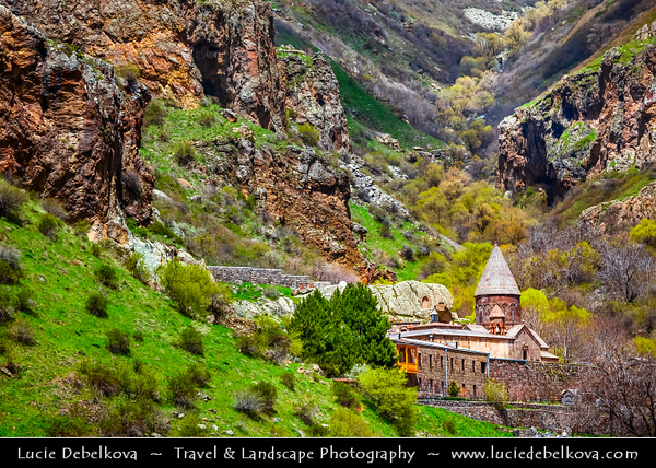 Armenia - Monastery of Geghard - Գեղարդ - Meaning spear - Unique architectural construction in the Kotayk province of Armenia, being partially carved out of the adjacent mountain, surrounded by cliffs - UNESCO World Heritage Site