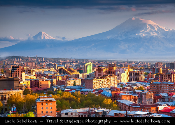 Armenia - Yerevan - Երևան - Capital & largest city of Armenia - One of the world's oldest continuously-inhabited cities - Mount Ararat & City View from Cascade - Huge stairwell built into a Yerevan hillside