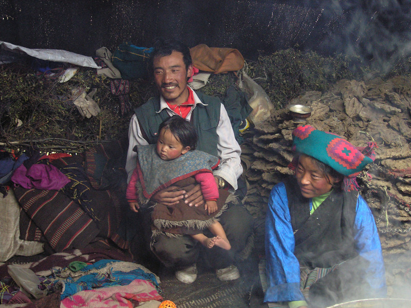 Tibetan nomad family in their yurt